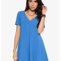 Blue Fit and Flare Short Sleeve Mini Dress | $12.50 | Cheap Trendy Club and Party Dresses Chic Disc