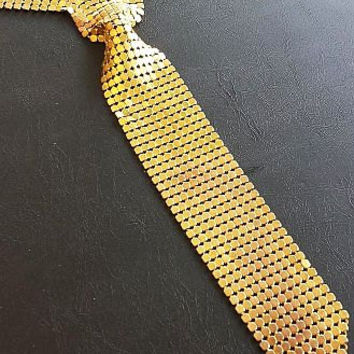 "Gold Mesh Necklace Pendant Long Bow Tie Style Chain Maille Links 23"" Hang Length Vintage Nice"