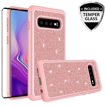 Samsung Galaxy S10 Case, Galaxy S10 Glitter Bling Heavy Duty Shock Proof Hybrid Case with [HD Screen Protector] Dual Layer Protective Phone Case Cover for Samsung Galaxy S10 W/Temper Glass - Rose Gold