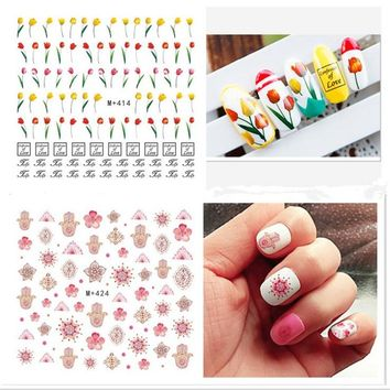 Fashion Flower Floral Pineapple Flamingo Nail Sticker Decal Water Transfer Sticker Nail Art Decals DIY Decor Temporary Tattoo