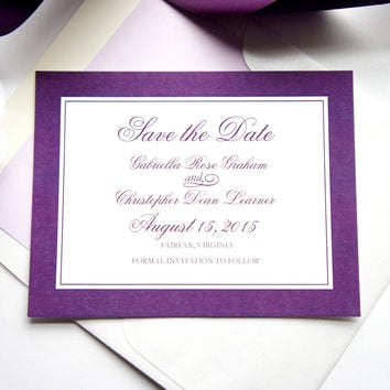 Purple Save the Date Card - DEPOSIT