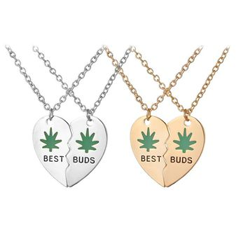 Best Buds BFF Best Friends Heart Valentine Forever Pot Marijuana Leaf Necklaces