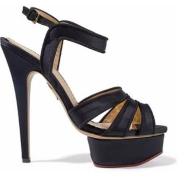 Suede-trimmed cutout satin platform sandals | CHARLOTTE OLYMPIA | Sale up to 70% off | THE OUTNET