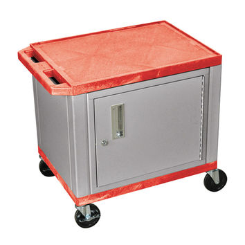 H. Wilson Multipurpose Red Nickel Service Utility Cart Lockable Storage Cabinet 3 Electrical Outlet