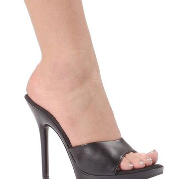 Women's 5 Inch Heel Clear Mule (7,Black)