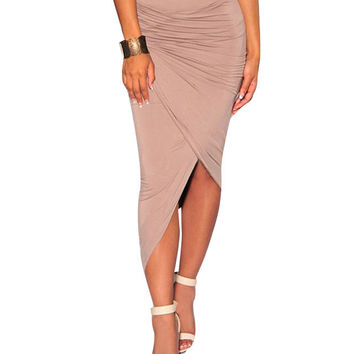 Asymmetric Ruched Bodycon Midi Skirt