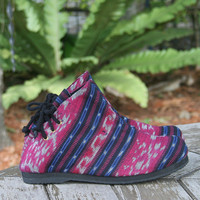 Womens Boots In Berry And  Blue Hand Woven Ikat,  Vegan Ankle Boots - Amber
