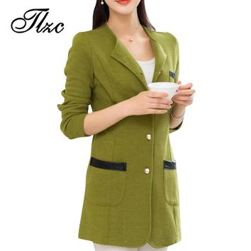 TLZC Candy Color Office Lady Fashion Jackets & Trench Coat Plus Size M-4XL Hot Europe and America Sweet Women Casual Blazers