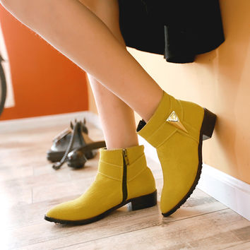 Suede Pointy Toe Low Block Heel Side Zipper Ankle Boots