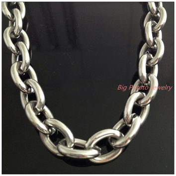 "8""-40"" Huge Heavy Jewelry Men's 316L Stainless Steel Silver Big O Link Chain Necklace High Quality 14mm Not Fades"