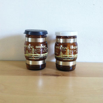 Mackinac Bridge, Michigan Brown Glass and Plastic Salt & Pepper Shakers {1970s} Vintage Kitchen Decor