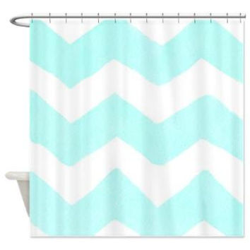Teal Chevron Shower Curtain - Watercolor Painted art  - unique, watercolor chevron minimalist, teal white , coastal decor