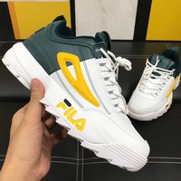 FILA Destroyer 2 generations of blade Running shoes thicker increased old shoes sneakers green/white(yellow logo)