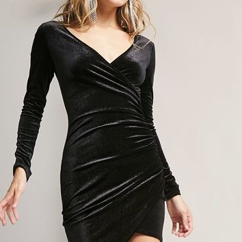 Glitter Velvet Ruched Dress