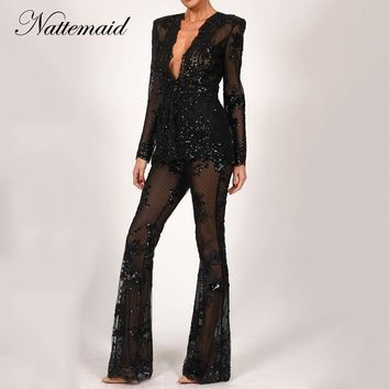 NATTEMAID Hollow Out 2018 Winter 2 Piece Set Women Deep V Neck Two Piece Set Top And Pants Office Lady Sequin Sexy Two Piece Set