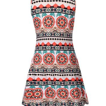 Casual Round Neck Skater Dress In Striped Tribal Printed