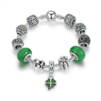 Silver Plated Charm Bracelet with Green Glass Beads & 4 Leaf Clover Pendant