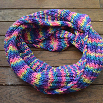 Multicolored Knit Scarf, Infinity Scarf, Pink Knitted Scarf, Blue Hand Knit Scarf, Purple Circle Scarf, Yellow Knit Snood, Hand-Knit Cowl