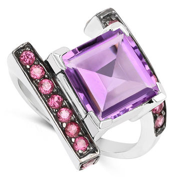 6.90 Carat Amethyst And Rhodolite Sterling Silver Ring