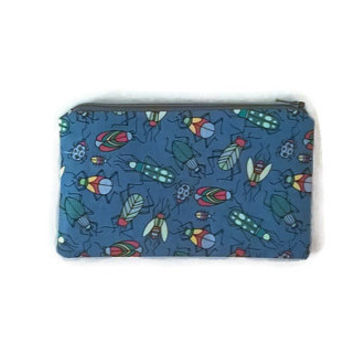 Insects Zip Pouch, Insect Lover Gift, Blue Cosmetic Bag, Canvas Pouch, Cute Zip Pouch, Boys Pouch, Kawaii Bag, Travel Organizer, Boys Gift