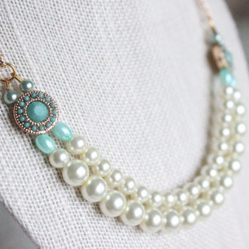 Strung Pearl Two Strand Mint Gold Chain Handmade Vintage Pearls Antique Cream Necklace Wedding Bridesmaid Gift Gift Ideas