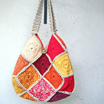 Tangerine shoulder bag.Crochet orange granny square shoulder bag.Made to order