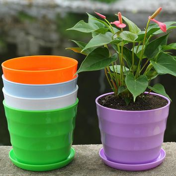 2016 New Flower Pot Square Plastic Planter Nursery Garden Desk Home Hotel Office Decor 10 Colors for Choose S4715