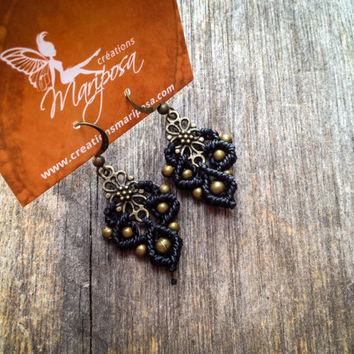 Macramé boho earrings small antique brass tone micro macrame boho jewelry bohemian wear gypsy by Creations Mariposa