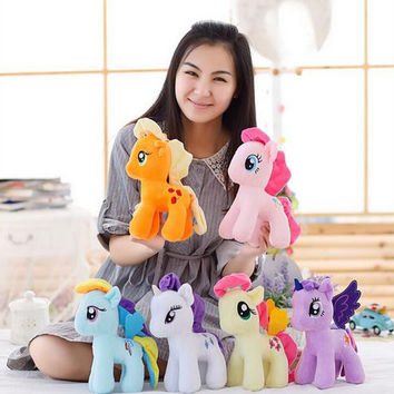 1pcs  16cm Kawaii Rainbow Horse Toys Cartoon Toys  Stuffed Dolls Movie TV Stuffed  Plush Animals Little Horse