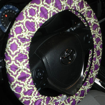 Grape Trellis Steering Wheel Cover-Purple Wheel Cover-Cute Car Accessory-Girly Car Decor-Unlined or Lined Wheel Cover