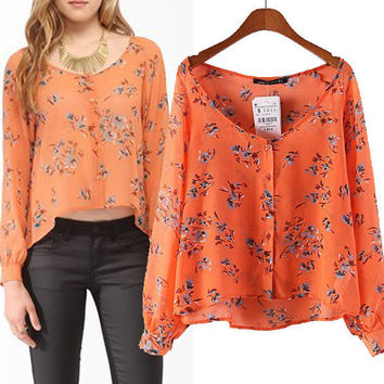 Orange Floral Print V-Neck Sleeve Asymmetrical Chiffon Blouse