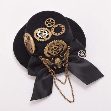 Women Vintage Black Cog Steampunk Top Hat Hair Clips Gothic Skull Gear Headwear