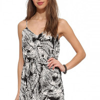 Black and White Tropical Print Mini Dress