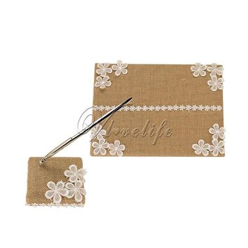 2pcs/set Burlap Wedding Guest Book + Pen Set with Lace Ribbon