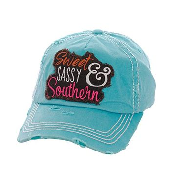 Sweet Sassy and Southern Turquoise Patch Adjustable Baseball Cap KBV1080(TQ)