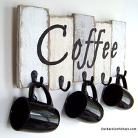Coffee Mug Holder;  Coffee Mug Rack; Kitchen Decor; Kitchen Organization; Rustic Decor; Coffee Cup Rack; Mug Rack; Custom orders welcome!