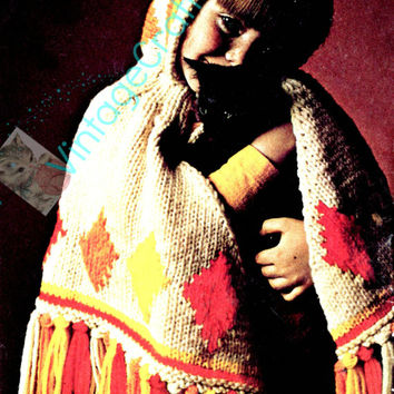 1970s Hooded Poncho for Child Vintage Knitting Pattern Autumn Fall Cold Weather Cape Hat Boho Chic Fringe Womans Pattern Vintage Beso