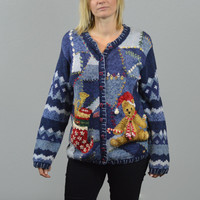 Vintage Ugly Tacky Christmas Sweater Cardigan/Blue with Teddy Bear Stocking and Jingle Bells/Casual Corner/Medium/ Sweater Party