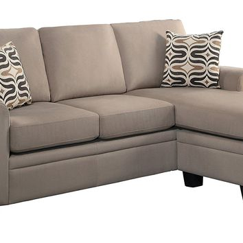 Home Elegance 8209BR-3SC 2 pc Synnove collection light brown textured fabric upholstered reversible chaise sectional sofa