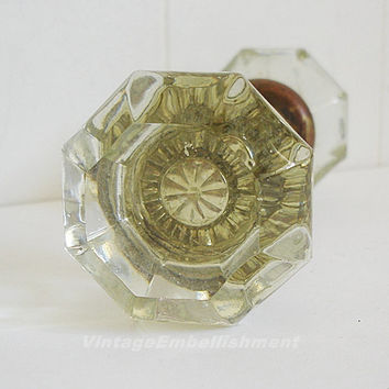 Vintage Crystal Glass Door Knob Set 8 Sided Gold Tone Door Knob