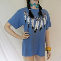 Vintage T Shirt / 80s 90s Native American T Shirt / Indian Feathers T Shirt / Southwest T Shirt / Made in USA Men's Medium