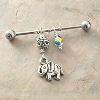 Elephant Industrial Bar Barbell Upper Double Ear Piercing