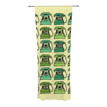 "Holly Helgeson ""Grandma's Telephone"" Green Yellow Decorative Sheer Curtain"