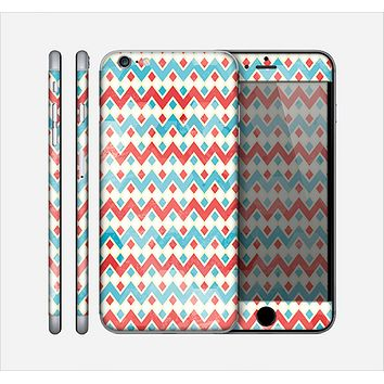 The Vintage Red & Blue Chevron Pattern Skin for the Apple iPhone 6 Plus