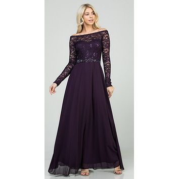 Long Sleeved Lace Bodice A-Line Long Formal Dress Eggplant