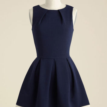 Luck Be a Lady A-Line Dress in Navy Contrast | Mod Retro Vintage Dresses | ModCloth.com