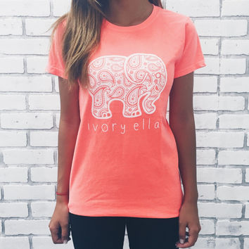 Neon Coral Paisley Tee