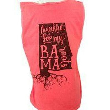 Sassy Frass Thankful for my Bama Roots Alabama State Girlie Bright Comfort Colors Tank Top