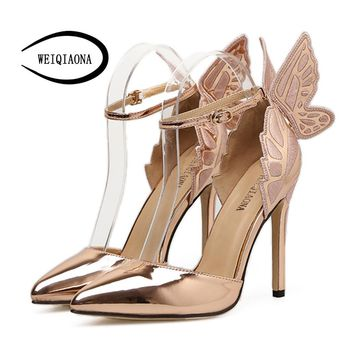 WEIQIAONA 2018 New Fashion Women Pumps Butterfly Heels Sandals Pointed Sexy elegent Wedding Shoes Party ladies shoes