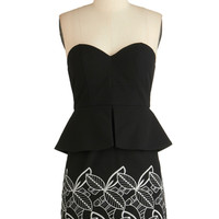 ModCloth Short Strapless Peplum Heart On Your Leaves Dress